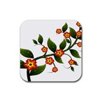Flower Branch Nature Leaves Plant Rubber Square Coaster (4 pack)