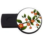 Flower Branch Nature Leaves Plant USB Flash Drive Round (2 GB)