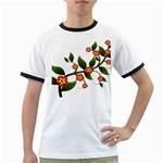 Flower Branch Nature Leaves Plant Ringer T-Shirts