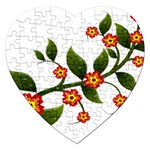 Flower Branch Nature Leaves Plant Jigsaw Puzzle (Heart)