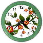 Flower Branch Nature Leaves Plant Color Wall Clocks