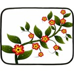 Flower Branch Nature Leaves Plant Double Sided Fleece Blanket (Mini)