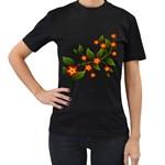 Flower Branch Nature Leaves Plant Women s T-Shirt (Black)