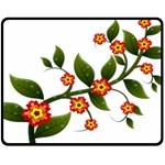 Flower Branch Nature Leaves Plant Fleece Blanket (Medium)