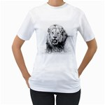 Lion Wildlife Art And Illustration Pencil Women s T-Shirt (White) (Two Sided)