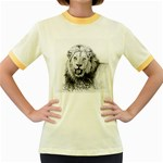 Lion Wildlife Art And Illustration Pencil Women s Fitted Ringer T-Shirts