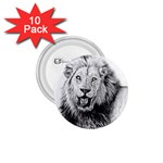 Lion Wildlife Art And Illustration Pencil 1.75  Buttons (10 pack)
