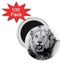Lion Wildlife Art And Illustration Pencil 1.75  Magnets (100 pack)