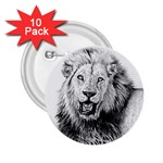 Lion Wildlife Art And Illustration Pencil 2.25  Buttons (10 pack)