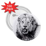 Lion Wildlife Art And Illustration Pencil 2.25  Buttons (100 pack)