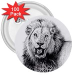 Lion Wildlife Art And Illustration Pencil 3  Buttons (100 pack)