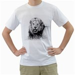 Lion Wildlife Art And Illustration Pencil Men s T-Shirt (White) (Two Sided)