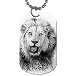 Lion Wildlife Art And Illustration Pencil Dog Tag (Two Sides)