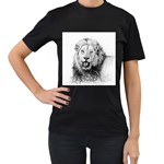 Lion Wildlife Art And Illustration Pencil Women s T-Shirt (Black) (Two Sided)