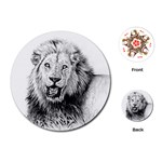 Lion Wildlife Art And Illustration Pencil Playing Cards (Round)