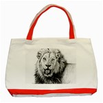 Lion Wildlife Art And Illustration Pencil Classic Tote Bag (Red)