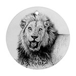 Lion Wildlife Art And Illustration Pencil Round Ornament (Two Sides)