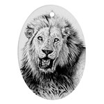 Lion Wildlife Art And Illustration Pencil Oval Ornament (Two Sides)