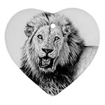 Lion Wildlife Art And Illustration Pencil Heart Ornament (Two Sides)