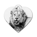 Lion Wildlife Art And Illustration Pencil Dog Tag Heart (Two Sides)