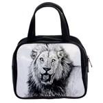 Lion Wildlife Art And Illustration Pencil Classic Handbags (2 Sides)