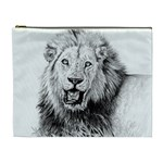 Lion Wildlife Art And Illustration Pencil Cosmetic Bag (XL)