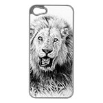 Lion Wildlife Art And Illustration Pencil Apple iPhone 5 Case (Silver)