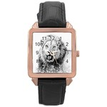 Lion Wildlife Art And Illustration Pencil Rose Gold Leather Watch