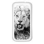 Lion Wildlife Art And Illustration Pencil Samsung Galaxy S3 Back Case (White)