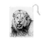 Lion Wildlife Art And Illustration Pencil Drawstring Pouches (Large)