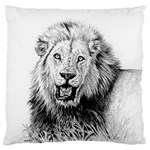 Lion Wildlife Art And Illustration Pencil Standard Flano Cushion Case (One Side)