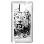 Lion Wildlife Art And Illustration Pencil Samsung Galaxy Note 4 Case (White)