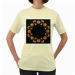 Floral Vintage Royal Frame Pattern Women s Yellow T-Shirt