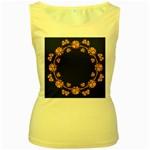 Floral Vintage Royal Frame Pattern Women s Yellow Tank Top
