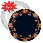 Floral Vintage Royal Frame Pattern 3  Buttons (10 pack)