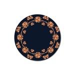 Floral Vintage Royal Frame Pattern Rubber Round Coaster (4 pack)
