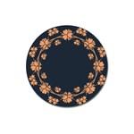 Floral Vintage Royal Frame Pattern Magnet 3  (Round)