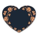 Floral Vintage Royal Frame Pattern Heart Mousepads