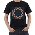 Floral Vintage Royal Frame Pattern Men s T-Shirt (Black)