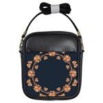 Floral Vintage Royal Frame Pattern Girls Sling Bags
