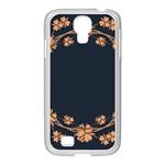 Floral Vintage Royal Frame Pattern Samsung GALAXY S4 I9500/ I9505 Case (White)