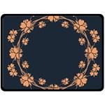 Floral Vintage Royal Frame Pattern Double Sided Fleece Blanket (Large)