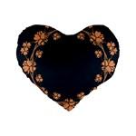 Floral Vintage Royal Frame Pattern Standard 16  Premium Flano Heart Shape Cushions