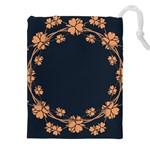 Floral Vintage Royal Frame Pattern Drawstring Pouches (XXL)
