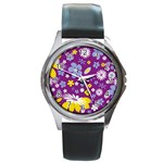 Floral Flowers Round Metal Watch