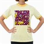 Floral Flowers Women s Fitted Ringer T-Shirts