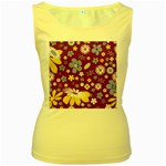 Floral Flowers Women s Yellow Tank Top