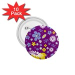 Floral Flowers 1.75  Buttons (10 pack)