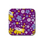 Floral Flowers Rubber Coaster (Square)