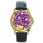 Floral Flowers Round Gold Metal Watch